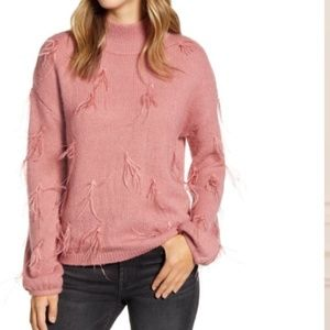 Rachel Parcell Feather Trimmed Mock Neck Sweater